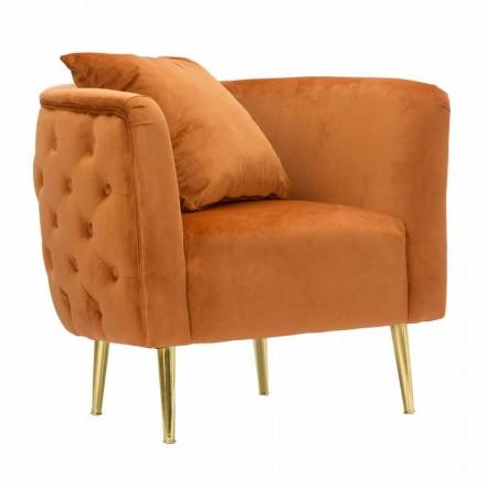 Moderne design stue lænestol i fløjl, træ og jern - Ruthie