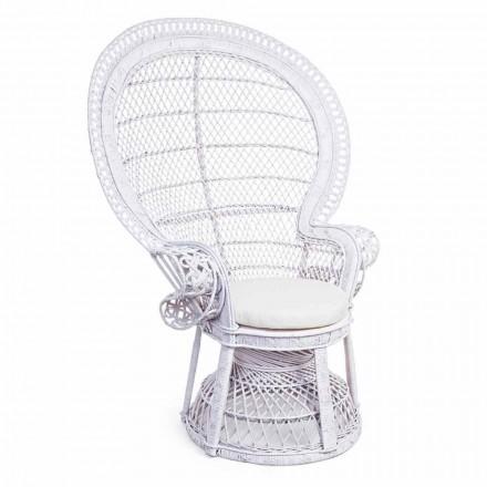 Luksus Design Havestol i hvid Rattan til udendørs - Serafina