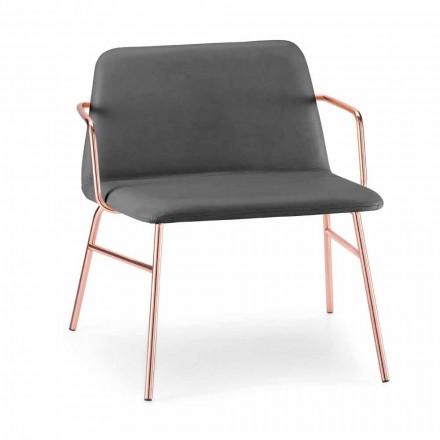 Luksus lænestol i fløjl med metalstruktur fremstillet i Italien - Molde