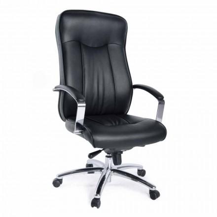 Retningskontor Roterende lænestol i læder- og metalbase - Virone