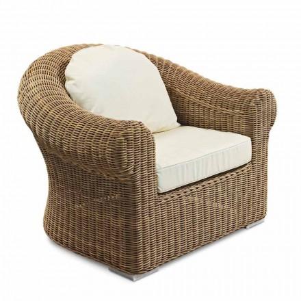 Udendørs lænestol i vævet syntetisk rotting og hvid eller ecru stof - Yves