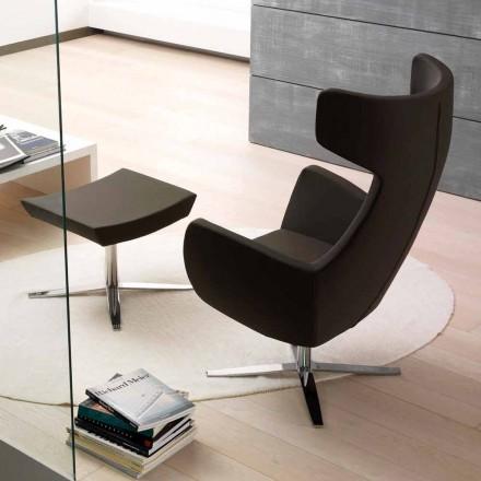 Øko-læder lænestol med drejelig forkromet eller sort base - Clio