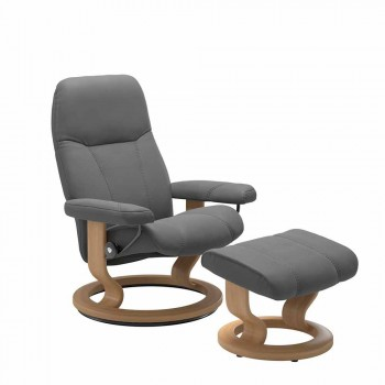 Afslappende liggende læderstol med Pouf - Stressless Consul