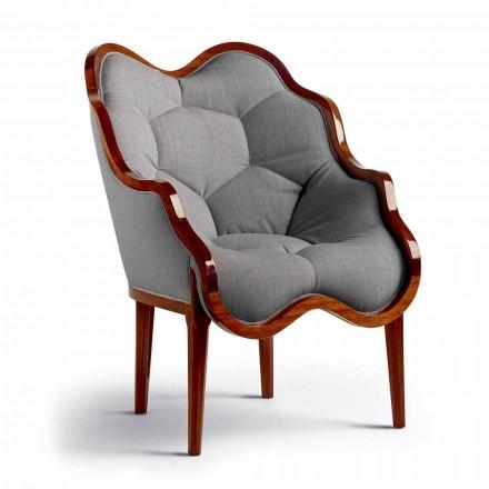 Lænestol i stof og træ solidt design, fremstillet i Italien, Begga