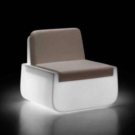 Lysende udendørs lænestol i polyethylen med pude fremstillet i Italien - Belida