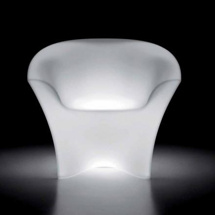 Lysende lænestol i polyethylen med LED-lys Made in Italy - Conda