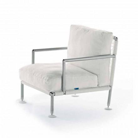 Moderne design lænestol i stål og sort eller hvid PVC til udendørs - Ontario2
