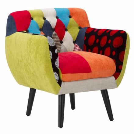 Moderne design farvet patchwork lænestol i stof og træ - Koria