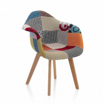 Patchwork Design lænestol i stof med træben, 2 stykker - Selena