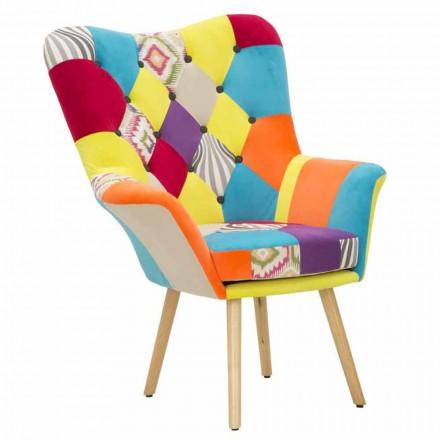 Moderne design patchwork lænestol i stof og træ - Karin
