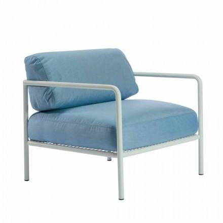 Udendørs lænestol med stof- og metalarmlæn fremstillet i Italien - Cola