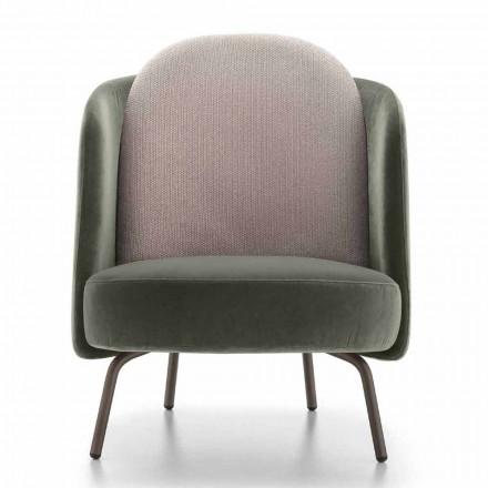 Stue lænestol beklædt med stof med metalfod lavet i Italien - Ribes