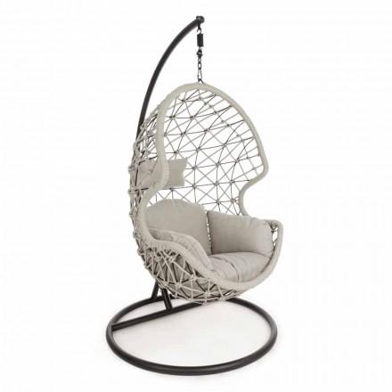 Ophængt udendørs lænestol i vævet reb med stålbase - soja