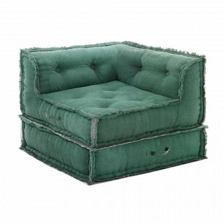 Hjørne Chaise Longue lænestol i grå, grøn eller blå bomuld - fiber
