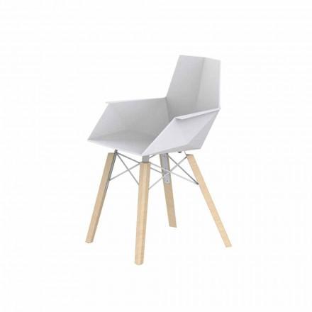 Design stue lænestol i polypropylen og træ - Faz Wood af Vondom