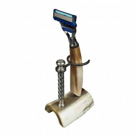 Håndlavet barberholder i horn eller træ med barbermaskine fremstillet i Italien - Diplo