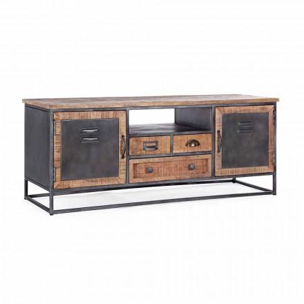Tv-stativ i industriel stil i Mango Wood and Steel Homemotion - Rupia