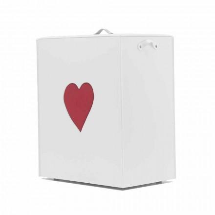 Moderne lædervaske kurv lavet i Italien Adele, hjerteindsats