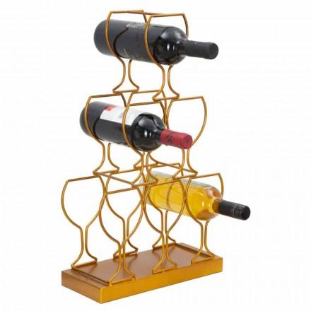 Gulv- eller bordflaskeholder 6 jernflasker, moderne design - Brody
