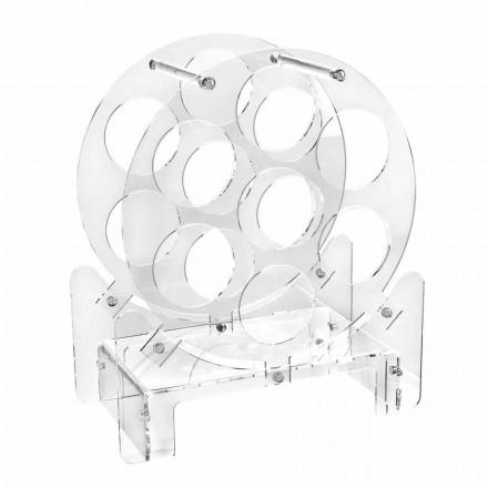 Design bordflaskeholder i gennemsigtig plexiglas eller med træ - Vinello