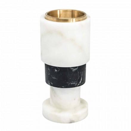Lys bicoloured marmor og messing lysestage lavet i Italien - Brett