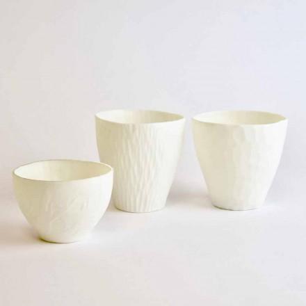 Design lysestage i dekoreret hvid porcelæn 3 stykker - Arcireale
