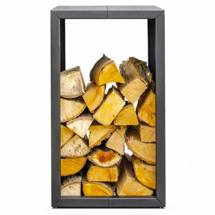 Udendørs eller indendørs brændeholder, sort eller Corten 45x45xH70 cm - Riviera