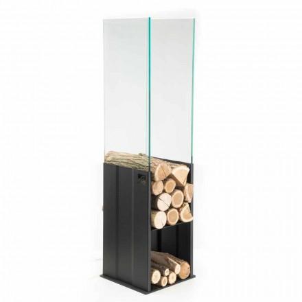 Intern træholder Moderne design i stål og glas fremstillet i Italien - Mistral