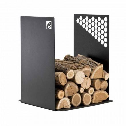 Moderne brændeholder i sort stål til indendørs design - Scirocco