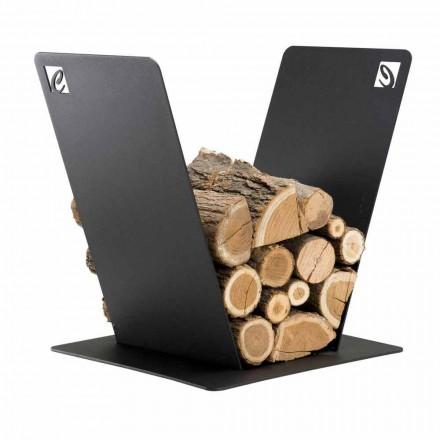 Træholder til pejs moderne design i sort stål fremstillet i Italien - Vespero