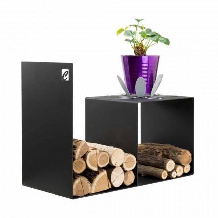Træholder i moderne design med indendørs bord i sort stål - Cecia