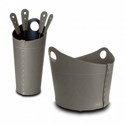 Brændeholder, jernholder og jern til Nicad læder, lavet i Italien