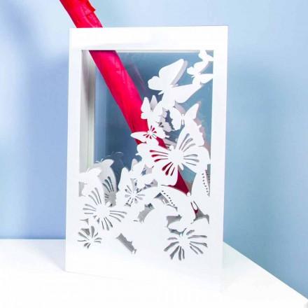 Hvid træparaplystativ med moderne design dekoreret med sommerfugle - Papilio