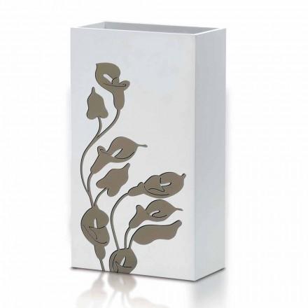 Hvidtræ-paraplystativ moderne design med blomsterpynt - Caracalla