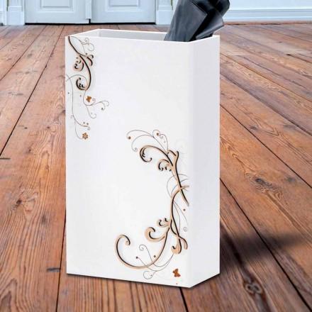 Moderne elegant paraplystativ i mørkt eller hvidt træ med dekorationer - Poesi
