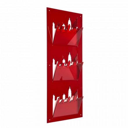 Wall Magazine Rack med tre rum i plexiglas fremstillet i Italien - Filarino