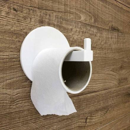 Papirholder og stift i hvid Corian eller med sort indsats, designbadeværelse - Elono