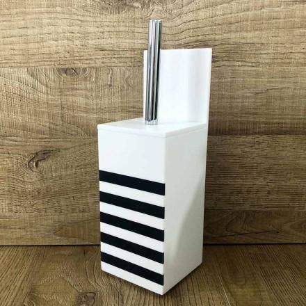 Toiletbørsteholder i hvid Corian eller med sort designindsats - Elono