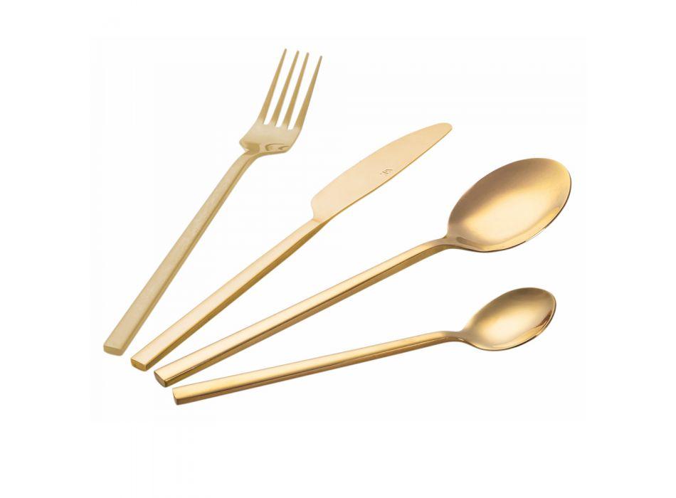 Bestik i poleret stål Kobber, guld, assorteret eller regnbue 24 dele - Calamo
