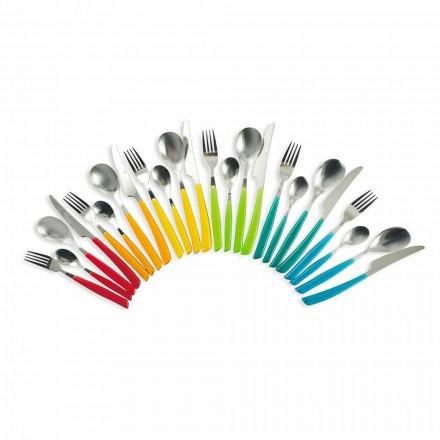 Design bestik 24 stykker i stål og plastik fuld service - Marokko