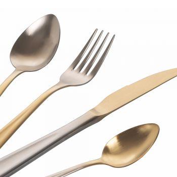 24 -delt guld- og sølvfarvet matbestik i rustfrit stål - Posh