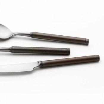 24 stykke bestik af satinstål, italiensk håndværksdesign - Damerino