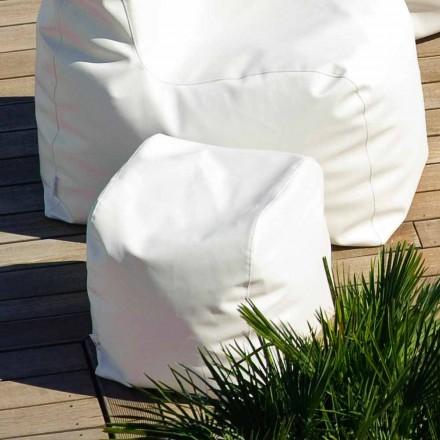 Puf Cloud Trona design i hvid nautiske imiteret læder lavet i Italien