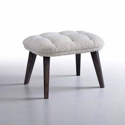 Designpuf beklædt i stof med træbund lavet i Italien - Clera