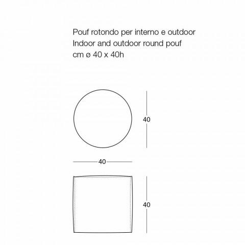 Blød rund puff til indendørs eller udendørs stue i farvet stof - Naemi