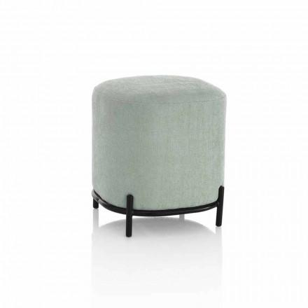 Rund puf til stue i grønt eller gråt stof Moderne design - Ambrogia