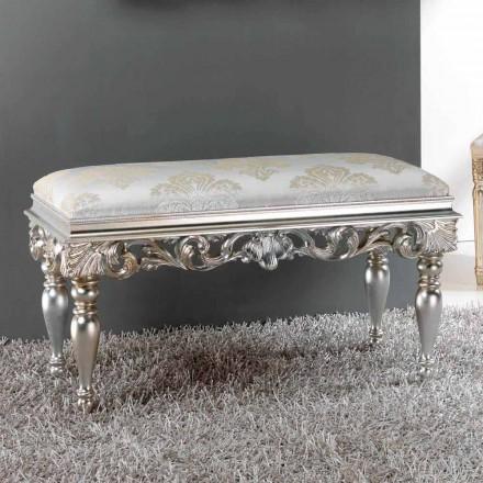 Puf bedside klassisk design med sølv-finish Zorn