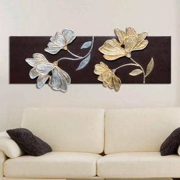 Billede med blomster dekoreret med hånd i guld og sølv Herman blad