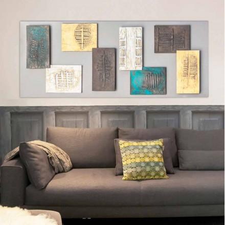 Moderne maleri med dovegrå lærred og otte elementer af Andrew