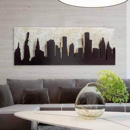Moderne maleri på lærred med prægede kaffefarvede Manhattan Donald